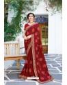 Maroon Designer Fancy Party Wear Georgette Silk Sari