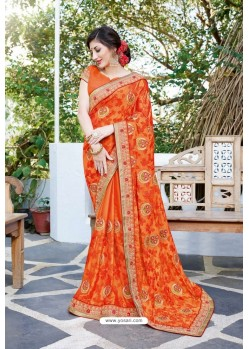 Orange Designer Fancy Party Wear Georgette Silk Sari