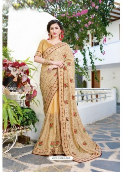 Cream Designer Fancy Party Wear Georgette Silk Sari