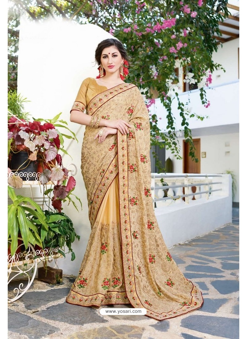 Cream Designer Fancy Party Wear Georgette Silk Sari