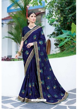 Navy Blue Designer Fancy Party Wear Georgette Silk Sari