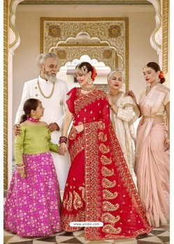 Red Designer Bridal Georgette Sari