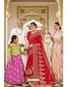 Red Designer Bridal Georgette Sari