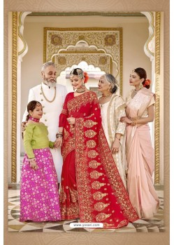Fascinating Red Designer Bridal Georgette Sari