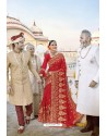 Marvelous Red Designer Bridal Georgette Sari