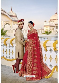 Ravishing Red Designer Bridal Georgette Sari