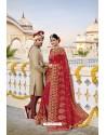 Ravishing Red Designer Bridal Georgette Sari