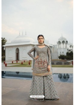 Grey Heavy Designer Party Wear Sharara Salwar Suit