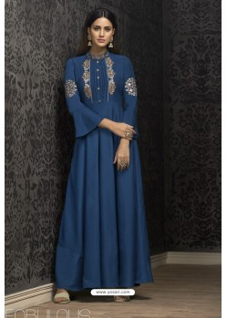 Dark Blue Maslin Embroidered Designer Gown