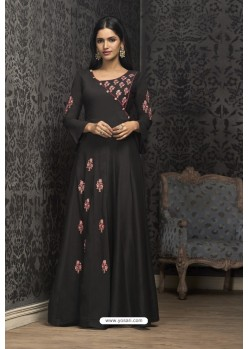Black Maslin Embroidered Designer Gown