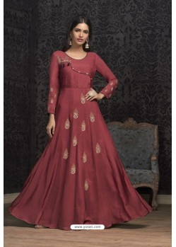Maroon Maslin Embroidered Designer Gown