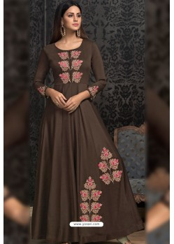 Coffee Brown Maslin Embroidered Designer Gown