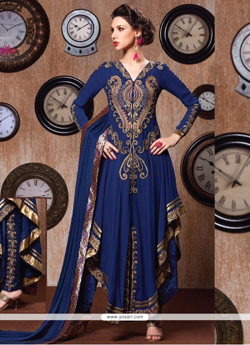 Tiptop Resham Work Blue Anarkali Salwar Suit