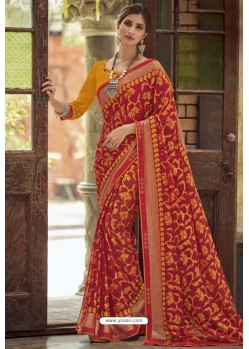 Red Designer Brasso Casual Wear Sari