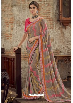 Light Grey Designer Brasso Casual Wear Sari
