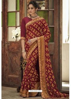 Maroon Designer Brasso Casual Wear Sari