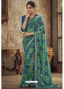 Jade Green Designer Brasso Casual Wear Sari
