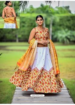 Multi Colour Embroidered Cotton Designer Lehenga Choli