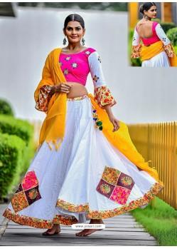 White Embroidered Cotton Designer Lehenga Choli