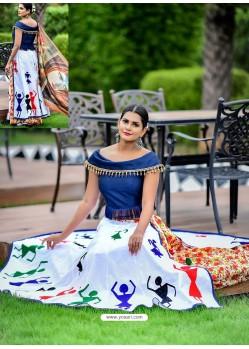 Off White Embroidered Cotton Designer Lehenga Choli