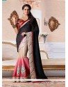 Black And Cream Shaded Zari Viscose Designer Saree