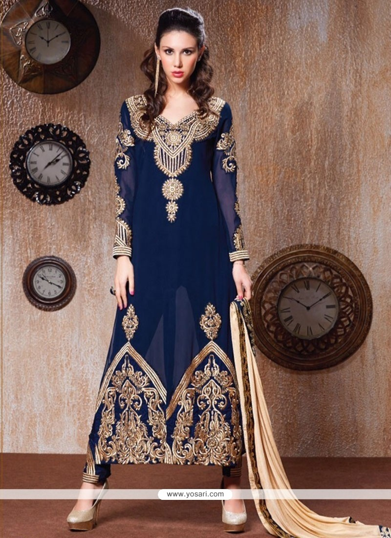 Phenomenal Embroidered Work Navy Blue Faux Georgette Designer Salwar Kameez