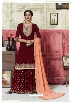 Maroon Designer Embroidered Georgette Sharara Salwar Suit