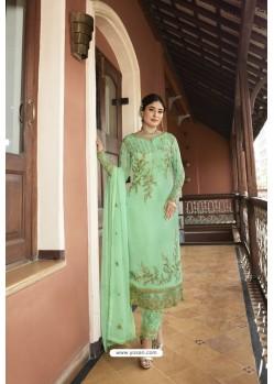 Sea Green Designer Embroidered Satin Georgette Straight Salwar Suits