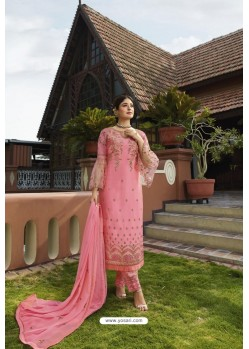 Pink Designer Embroidered Satin Georgette Straight Salwar Suits