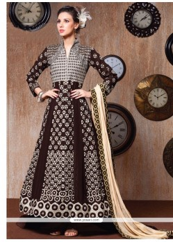 Radiant Resham Work Brown Anarkali Salwar Kameez