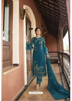Teal Blue Designer Embroidered Satin Georgette Straight Salwar Suits