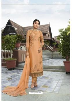 Light Orange Designer Embroidered Satin Georgette Straight Salwar Suits