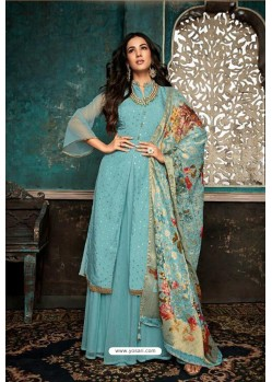 Sky Blue Embroidered Designer Party Wear Anarkali Suit