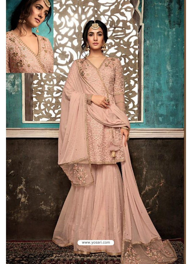 Dusty Pink Embroidered Designer Party Wear Palazzo Salwar Suit
