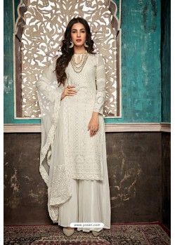 White Embroidered Designer Party Wear Palazzo Salwar Suit