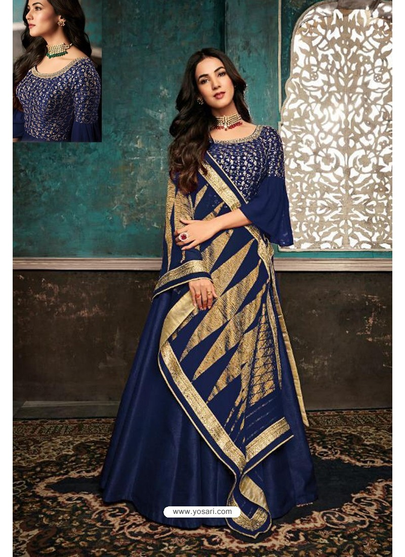 Navy Blue Embroidered Designer Party Wear Anarkali Suit