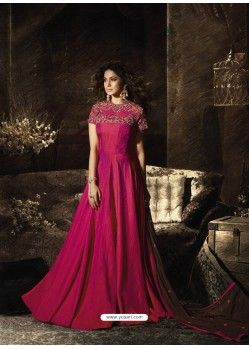 Rose Red Latest Embroidered Designer Gown Style Anarkali Suit