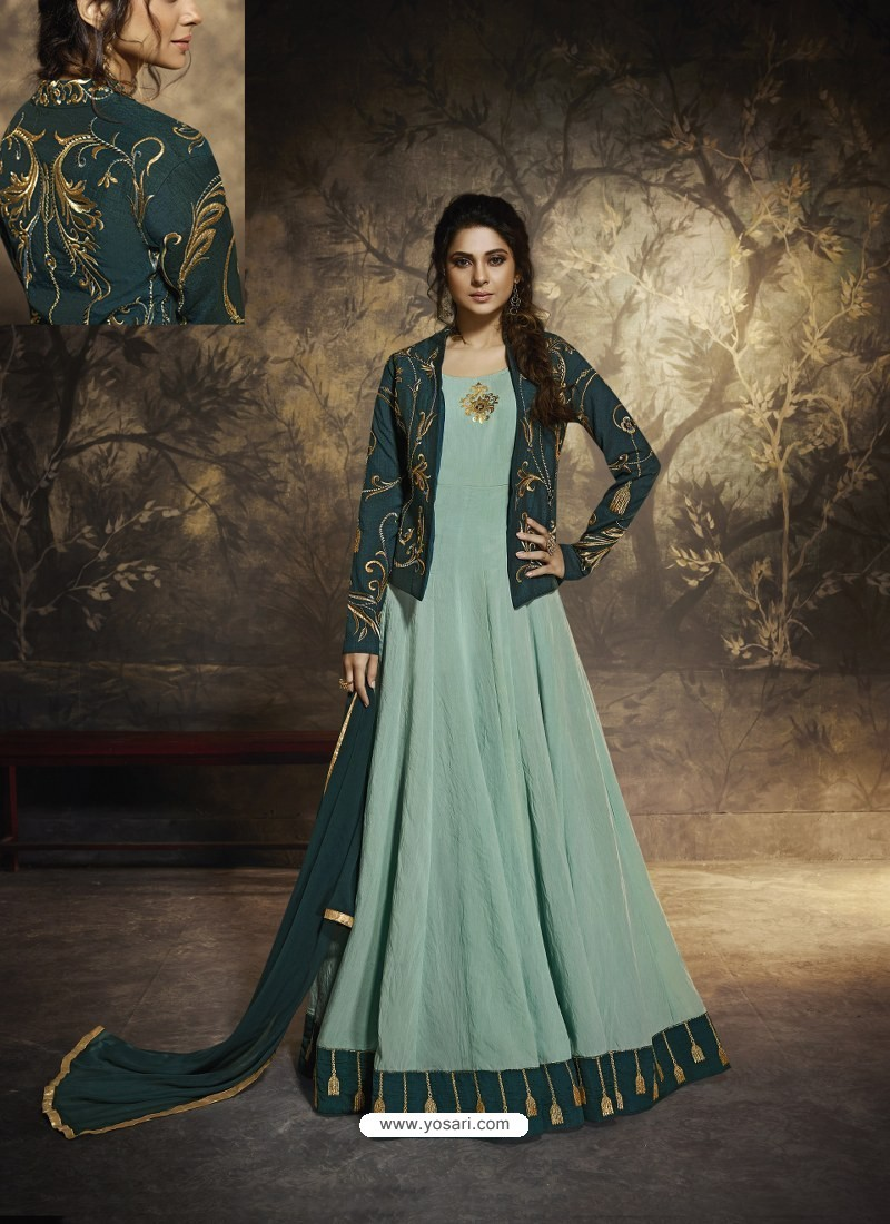 Grayish Green Latest Embroidered Designer Gown Style Anarkali Suit