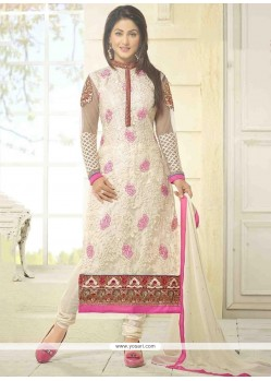 Hina Khan Resham Work White Georgette Churidar Salwar Kameez
