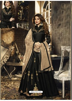 Black Latest Embroidered Designer Gown Style Anarkali Suit