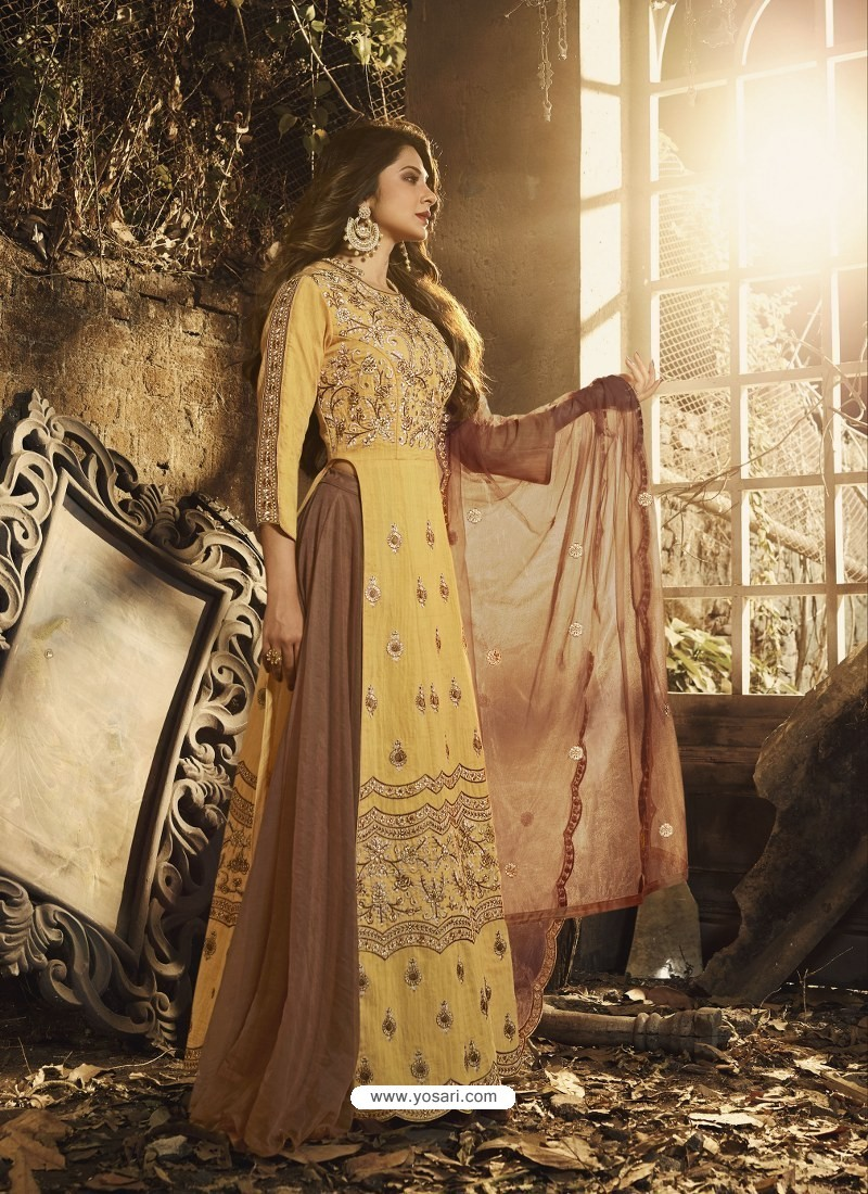 Yellow Latest Embroidered Designer Gown Style Anarkali Suit
