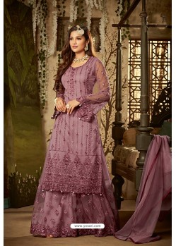 Purple Heavy Net Embroidered Designer Palazzo Suits