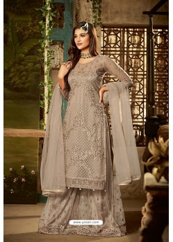 Taupe Heavy Net Embroidered Designer Palazzo Suits