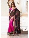 Eyeful Black And Pink Faux Georgette Designer Saree