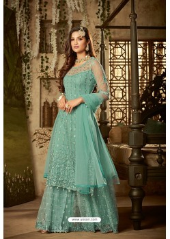 Sky Blue Heavy Net Embroidered Designer Palazzo Suits