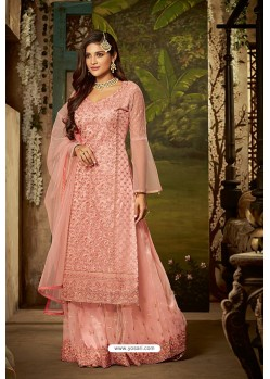 Peach Heavy Net Embroidered Designer Palazzo Suits