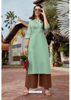Sea Green Heavy Party Wear Readymade Cotton Kurti With Palazzo
