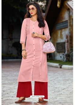 Pink Heavy Party Wear Readymade Cotton Kurti With Palazzo