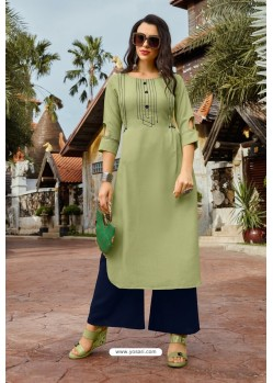 Green Heavy Party Wear Readymade Cotton Kurti With Palazzo