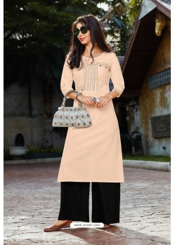 Light Beige Heavy Party Wear Readymade Cotton Kurti With Palazzo